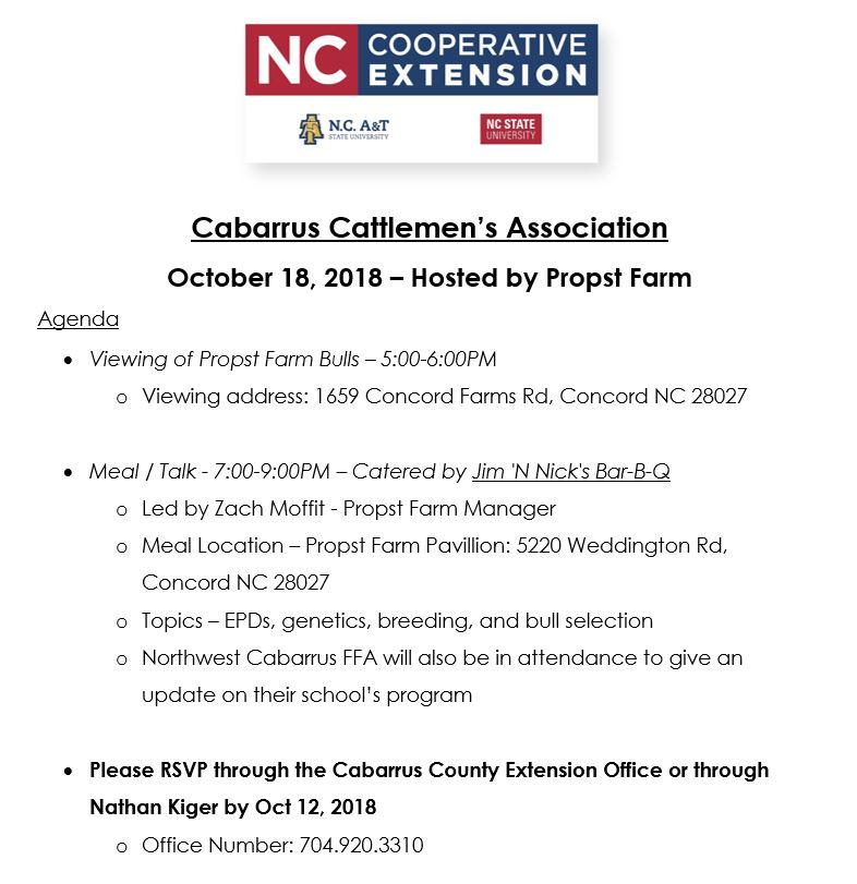 Cabarrus Cattlemen's Association Meeting flyer image