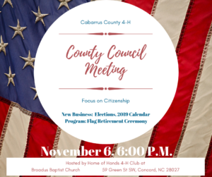 Cover photo for Cabarrus County 4-H Council November Meeting