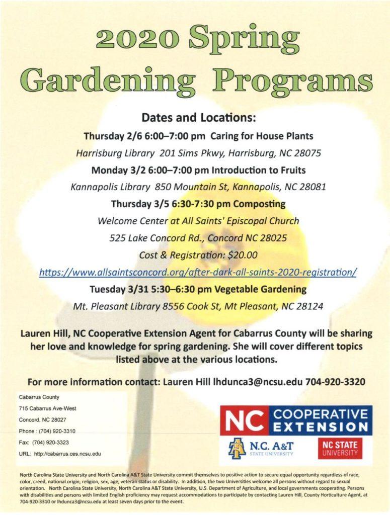 2020 Spring Gardening Programs flyer image