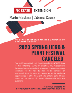 Cover photo for 2020 Spring Plant & Herb Festival- CANCELED