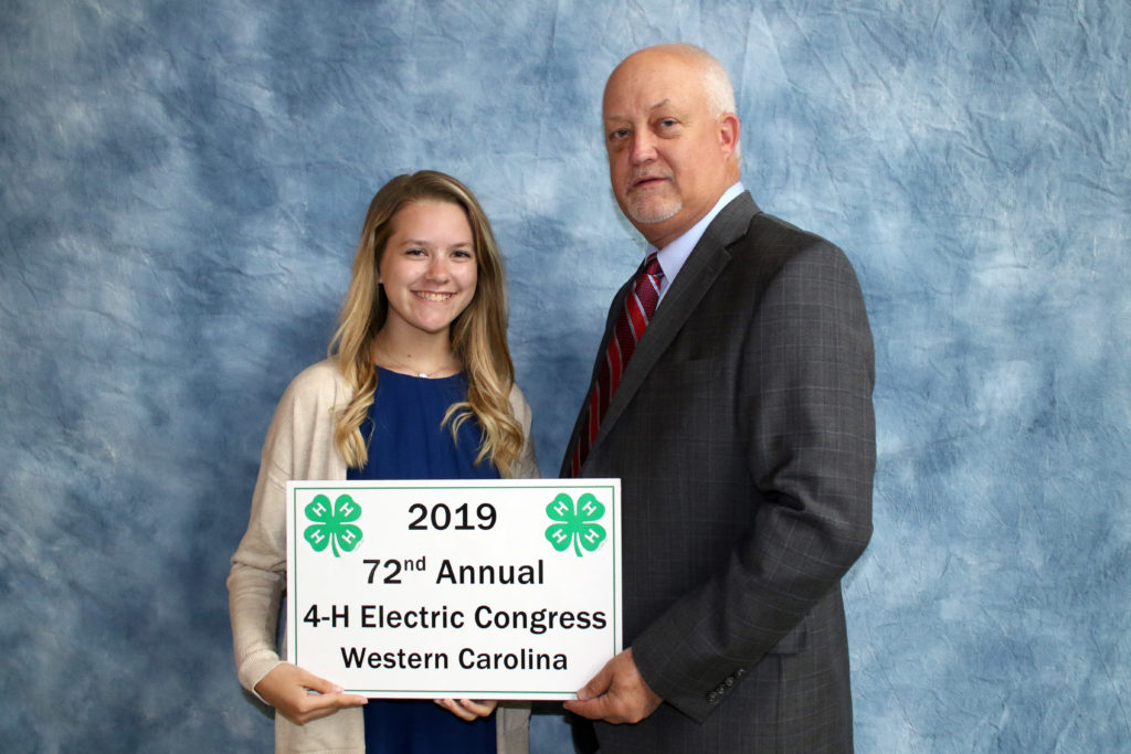 Rachel Wilson from Cabarrus County 4-H is recognized for her Electric Project at the 2019 4-H Electric Congress.