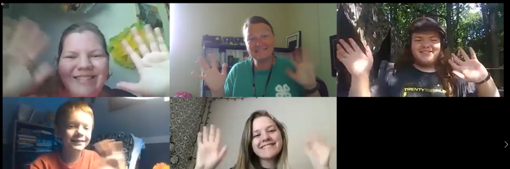 4-H'ers waving during a Zoom call