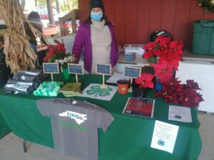 4-H Adult volunteer hosting booth with poinsettias and 4-H branded items.